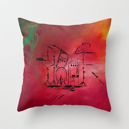 Music, Drummer, Drums, Orignal Artwork By Jodi Tomer. Rock and Roll Drums Throw Pillow