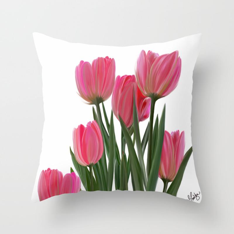 The Joy Of Tulips Throw Pillow By Maritzalovettart Society6
