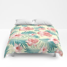 Tropical Flowers Palm Leaves Finesse #7 #tropical #decor #art #society6 Comforters