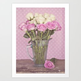 Vintage Candy Pink Roses in a Glass Jug Art Print