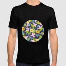 Floral Circle  Mens Fitted Tee Black MEDIUM