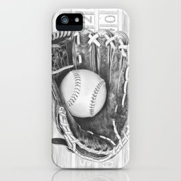 Softball (black and white) iPhone Case