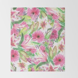 Pink Floral Print Throw Blanket