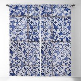 Portuguese Tiles - Azulejo Blue and White Floral Leaf Design Blackout Curtain