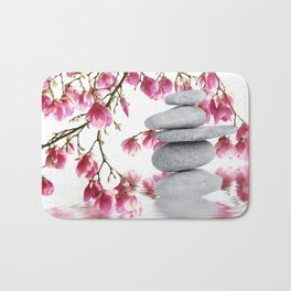 Magnolia flowers and zen stones 10 Bath Mat