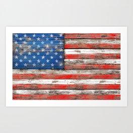 USA Vintage Wood Art Print