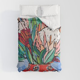 Protea Bouquet in Red Bulb vase on Ultramarine Blue Floral Still Life Painting Comforters