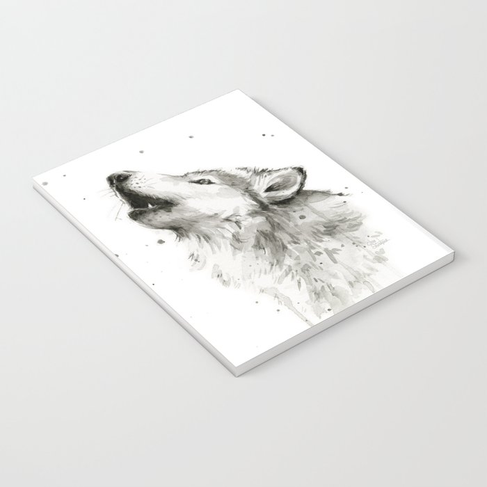 Wolf Howling Watercolor Animals Wildlife Painting Animal Portrait Notebook