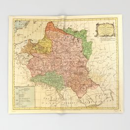 Kingdom of Poland and the Grand Dutchy of Lithuania Map (circa 1770) Throw Blanket
