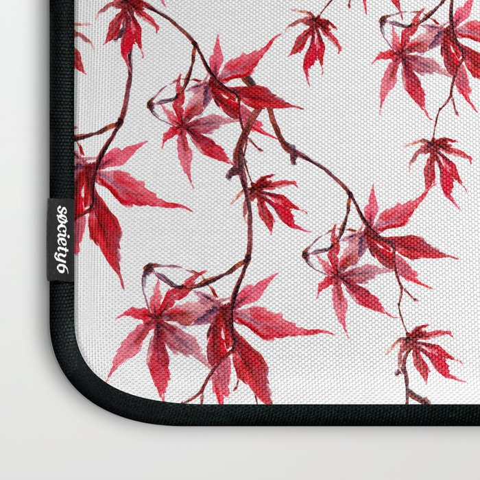 Watercolor Botanical Red Japanese Maple Leaves on Solid White Background Laptop Sleeve