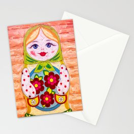 Russian Matryoshka Nesting Doll in Colour Stationery Cards