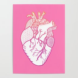 Designer Heart Pink Background Poster