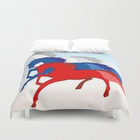 russia Duvet Covers featuring Horse flag of Russia by Pavlo Tereshin