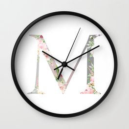 M - Floral Monogram Collection Wall Clock