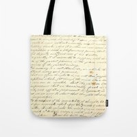writing Tote Bags featuring Vintage Writing by Paper Rescue Designs