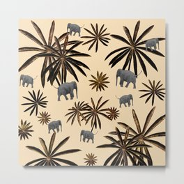 Palm Tree Elephant Jungle Pattern #3 (Kids Collection) #decor #art #society6 Metal Print