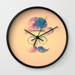 Retro Face with Moustache & Glasses / Universe - Galaxy Hipster Wall Clock