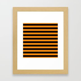 Dark Pumpkin Orange and Black Halloween Beach Hut Stripes Framed Art Print