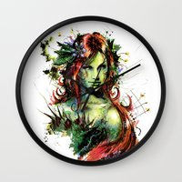 poison ivy Wall Clocks featuring Poison Ivy by Vincent Vernacatola