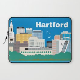 Hartford, Connecticut - Skyline Illustration by Loose Petals Laptop Sleeve