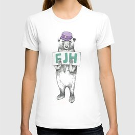 FJH-bear sign T-shirt