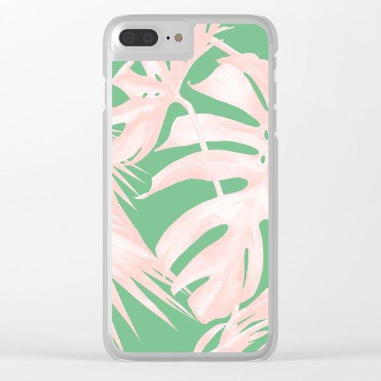 Island Love Seashell Pink + Green Clear iPhone Case