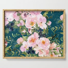 Floral Watercolor Rose Garden, Teal and Pink,  Vintage, Wall Art Boho Serving Tray