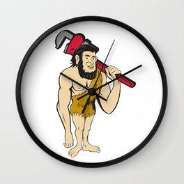 Neanderthal CaveMan Plumber Monkey Wrench Cartoon Wall Clock