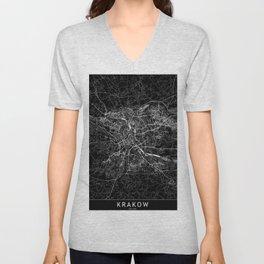 Krakow Black Map Unisex V-Neck