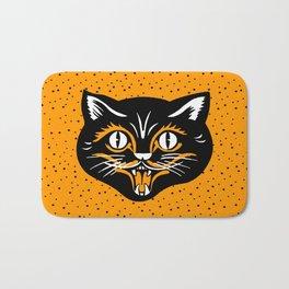 Vintage Type Halloween Black Cat Face Stars Orange Bath Mat