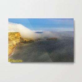 Saltwick Bay as the fog rolls in Metal Print