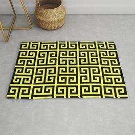 Greek Key (Light Yellow & Black Pattern) Rug