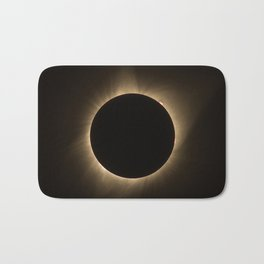 Flares - Total Solar Eclipse with Subdued Corona and Sun Bursts Bath Mat