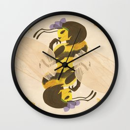 Print: Queen (Bee) of Clubs Wall Clock