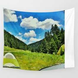 Camping Under the Cloudy Sky Wall Tapestry
