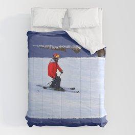 Winter Run - Downhill Skier Comforters