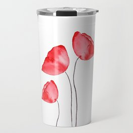3 red poppies watercolor Travel Mug