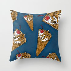THERE'S ALWAYS TIME FOR A WAFFLE CONE, SOME VANILLA ICE CREAM, CARAMEL, NUTS AND A CHERRY! - BLUE  Throw Pillow