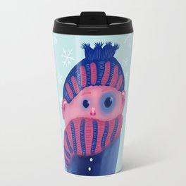 Freezing Kid In Winter Travel Mug