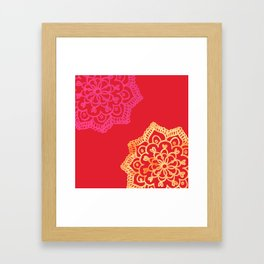Happy bright lace flower - red Framed Art Print