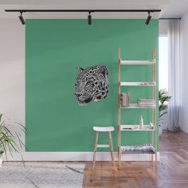 Amur leopard cub - green - big cat Wall Mural