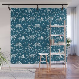 Dinosaur Fossils in Blue Wall Mural