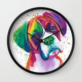 Rainbow Boxer Dog breeed Wall Clock