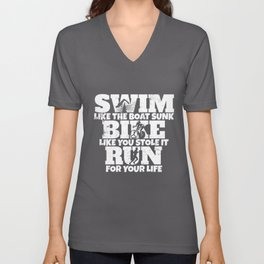 Swim Bike Run Funny Triathlon Triathlete Unisex V-Neck
