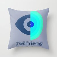 kubrick Throw Pillows featuring Stanley Kubrick - 2001: A Space Odessey by MathiasLaustrup