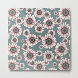 White Sunflowers Metal Print