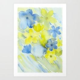 Blue and Yellow Floral Mix Digital Enhanced Watercolor Floral Art Art Print
