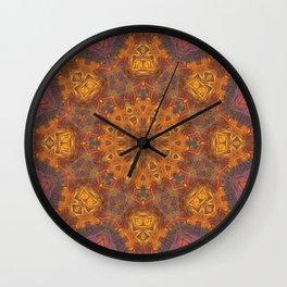 mandala 3 orange #mandala #orange Wall Clock