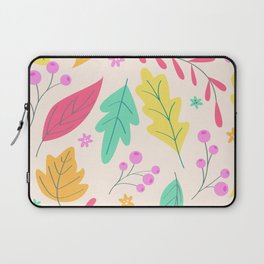 Colorful Hand Drawn Leaves Background Laptop Sleeve