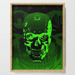 Gamer Skull CARTOON GREEN / 3D render of cyborg head Serving Tray